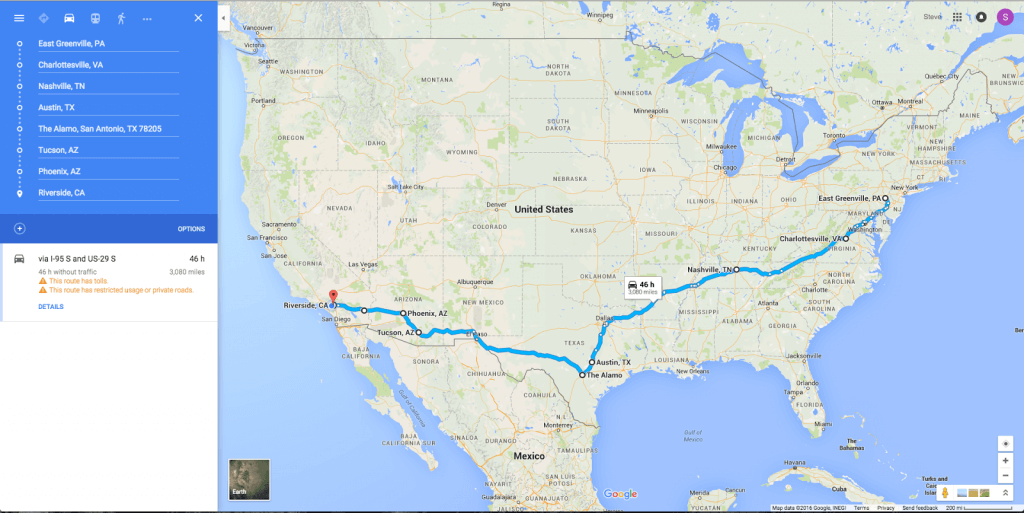 road trip across the U.S. route